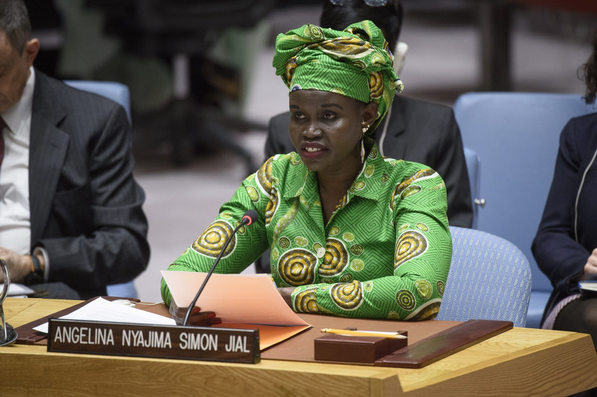 UN Security Council Briefing on South Sudan by Angelina Nyajima Simon Jial