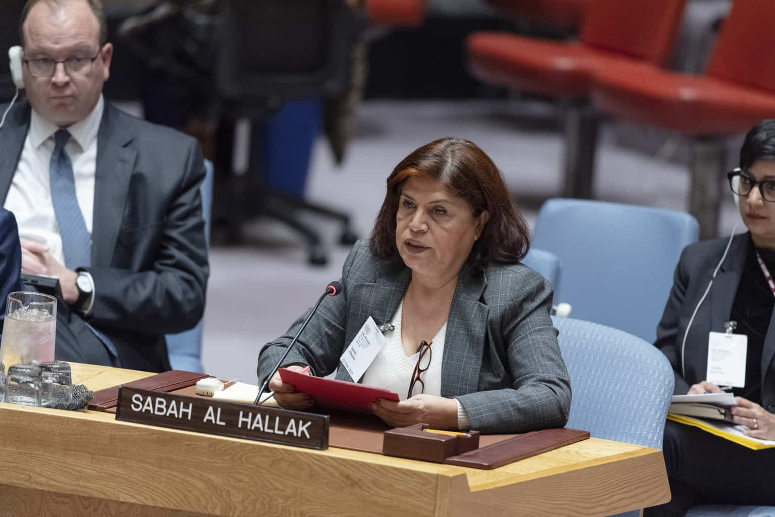 Sabah al Hallak addresses Security Council meeting on The situation in the Middle East (Syria)